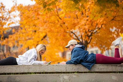students study in fall