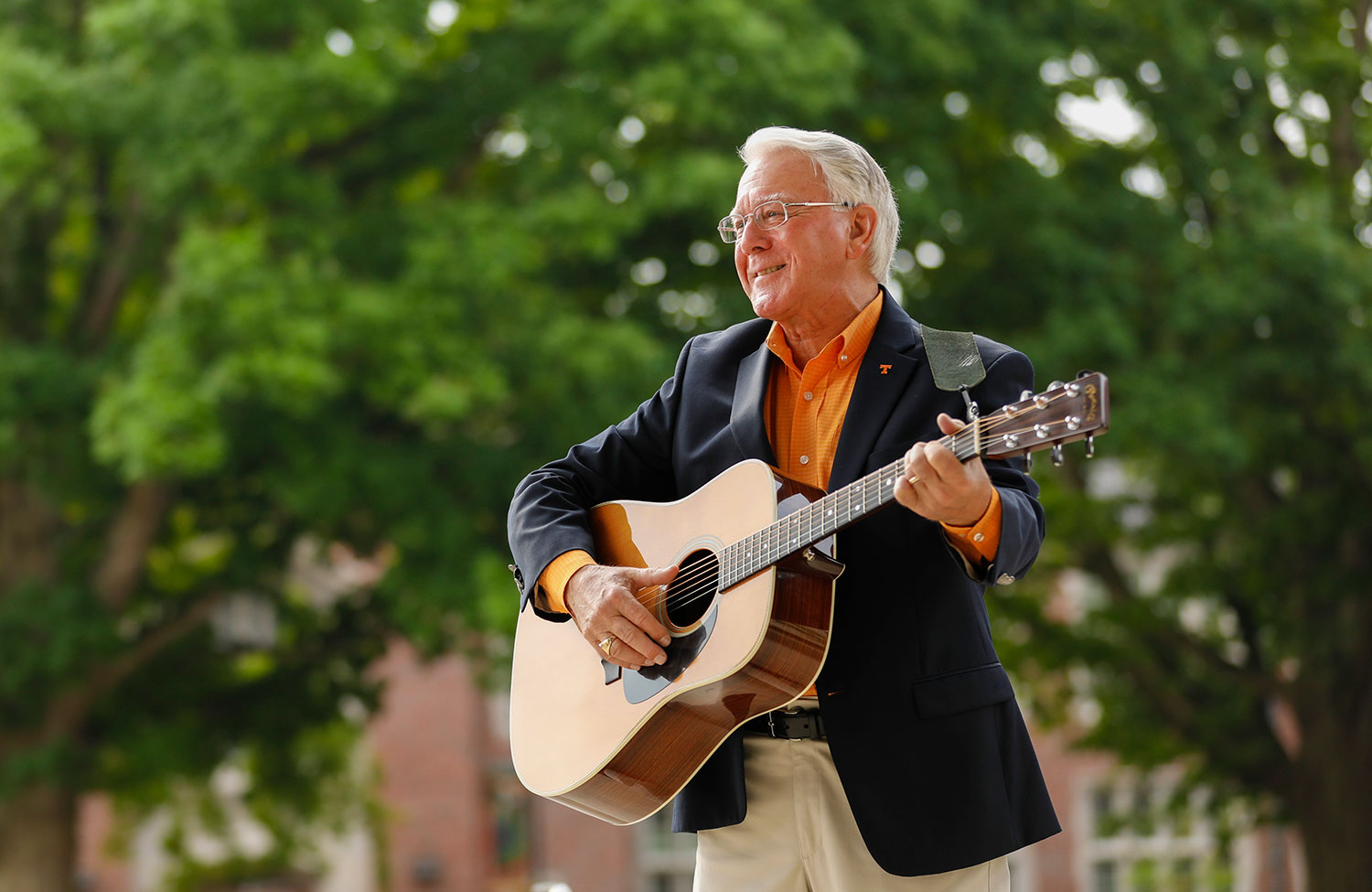 Chancellor Davis looks forward to playing his guitar more often.